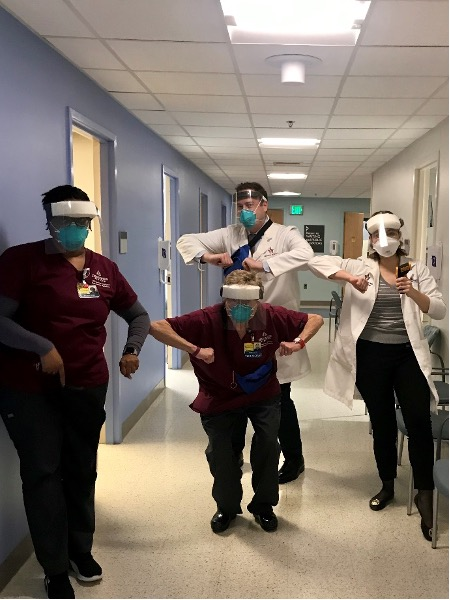 COVID measures in clinic. We are demonstrating social distancing and wearing our protective gear for the first time. We all did our best to keep patients and ourselves safe. In the first row left to right: Brandi, Terry and Dr. Liberman. In the back: Dr. Chaon