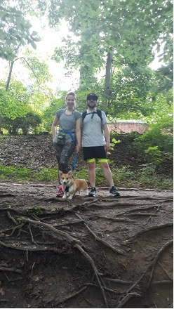 Here exploring the beautiful landscapes of Maryland with my husband, Nicky, and our dog, Latke.
